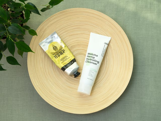 The Body Shop Hemp handcream, Krave Beauty Matcha Hemp Hydrating Cleanser