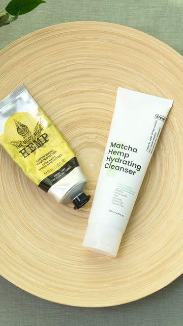 The Body Shop Hemp handcream, Krave Beauty Matcha Hemp Hydrating Cleanser