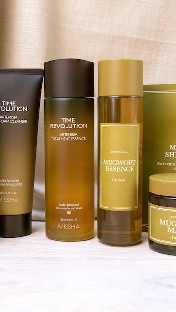 Vely Vely Artemisia Balance Essence, Missha Time Revolution Artemisia Treatment Essence, Pack Foam Cleanser, I'm From Mugwort Essence, Mask, Sheet Mask