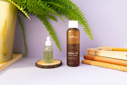 Mémo #2 Cicago Cica Double Effect Ampoule, Isntree Green Tea Fresh Toner